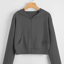 Zip Up Kangaroo Pocket Hoodie