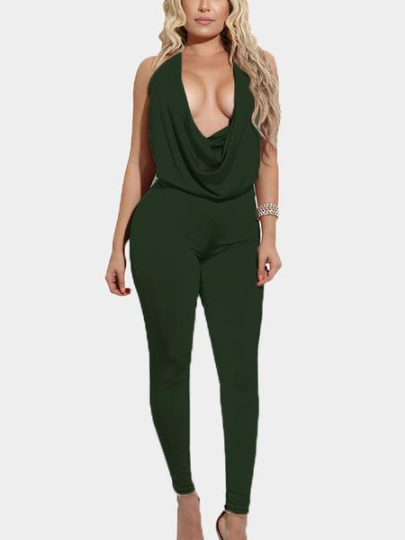 Yoins Army Green Halter Backless Design Deep V Neck Jumpsuits