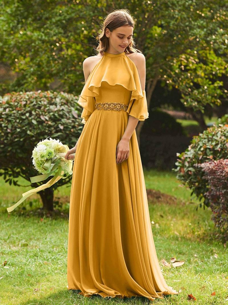Ericdress Halter Beading Cold Shoulder Long Bridesmaid Dress