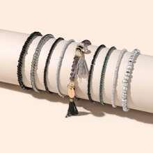 9 Stuecke Armband mit Quasten Anhaenger