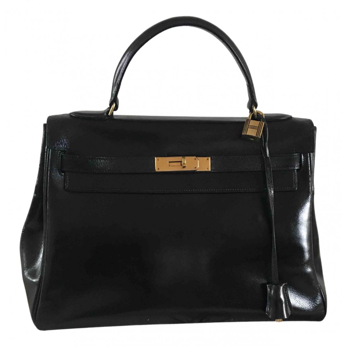 Hermes - Sac a main Kelly 32 pour femme en cuir - noir