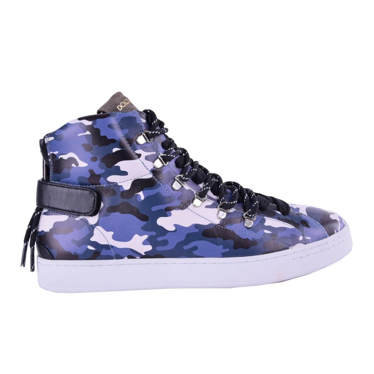 Dolce & Gabbana - Baskets   pour homme en cuir - bleu