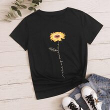 Sunflower & Slogan Graphic Tee