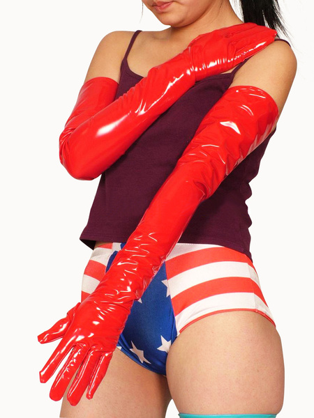 Milanoo Disfraz Halloween Guantes de PVC rojo hasta los hombros Halloween