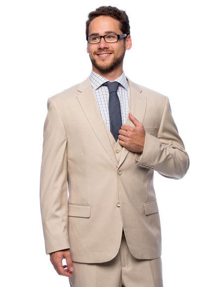 Caravelli Mens 2 Button Double Vent Beige 3-piece Vested Suit