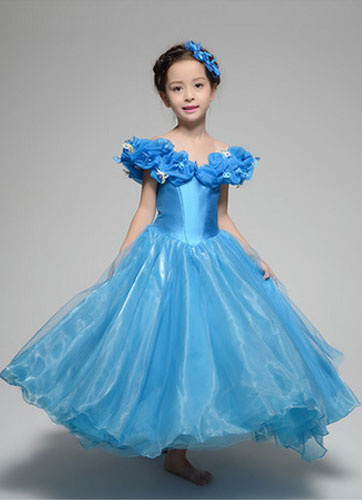 Milanoo Cinderella Dresses Flower Girl Dress Blue Organza Off The Shoulder Disney Costume