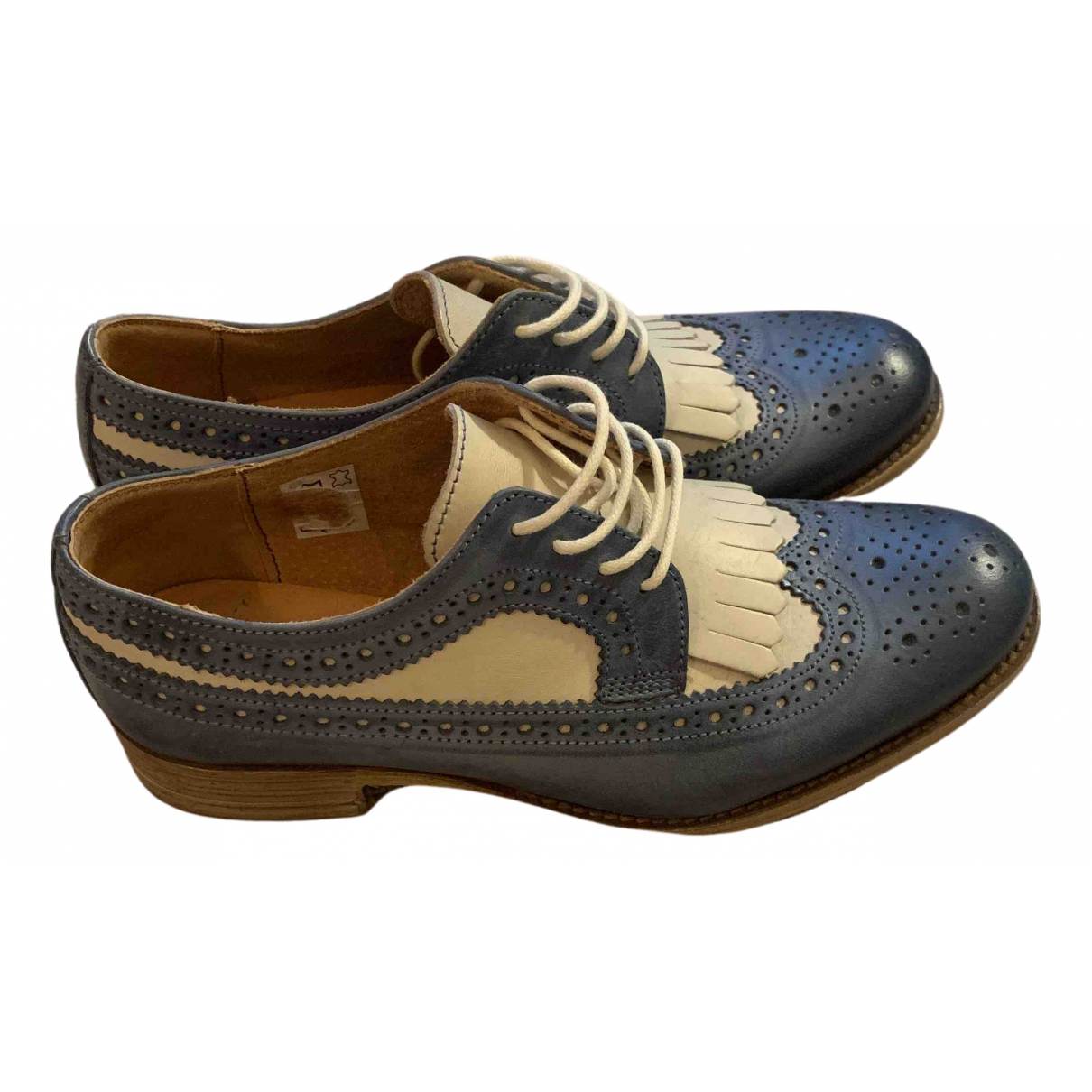 Non Signé / Unsigned N Blue Leather Lace ups for Women 36 EU