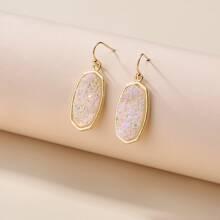 Crystal Cluster Geometric Drop Earrings