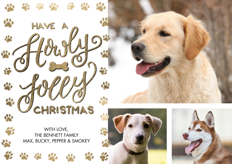 Christmas Photo Cards 5x7 Cards, Premium Cardstock 120lb with Rounded Corners, Card & Stationery -Christmas Paw Print Festive by Tumbalina