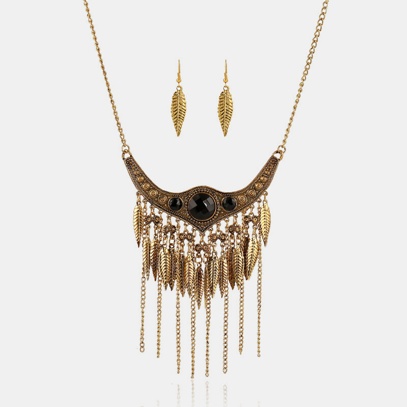 Retro Exaggerated Metal Gem Tassel Necklace Turquoise Leaf Tassel Chain Pendant Necklace