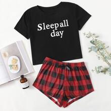Gingham And Slogan Graphic Pajama Set