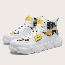 Guys Lace-up Front Cartoon Graphic High Top Sneakers