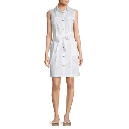 Liz Claiborne Sleeveless A-Line Dress, Small , White