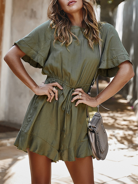 Yoins Ruffle Trim Round Neck Short Sleeves Drawstring Waist Playsuits