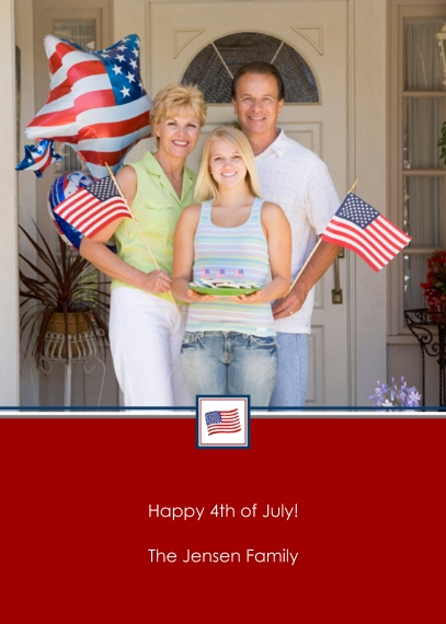 4th of July Photo Cards 5x7 Folded Cards, Premium Cardstock 120lb, Card & Stationery -Patriotic Postage