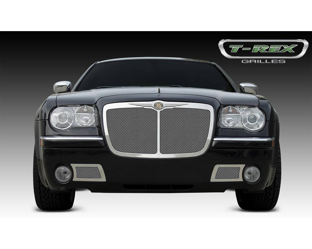 2005-2010 Chrysler 300, 300C, SRT Upper Class Grille, Polished, 1 Pc, Replacement, with Center Vertical Bar - PN #54479