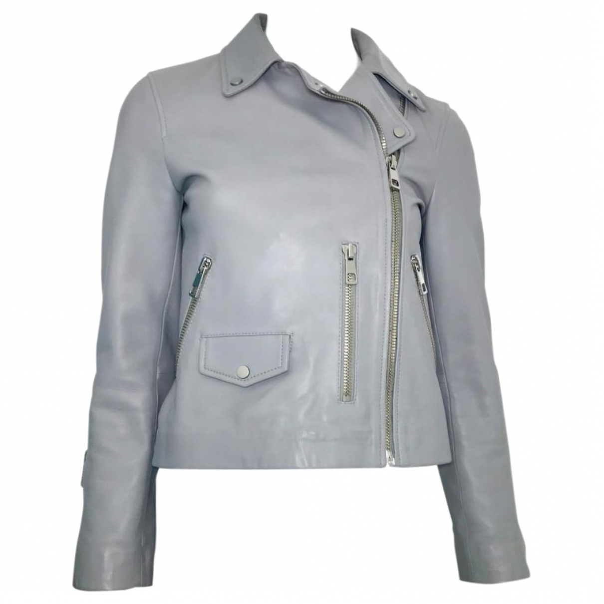 Whistles \N Grey Leather jacket for Women 40 IT