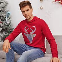 Men Christmas Print Pullover