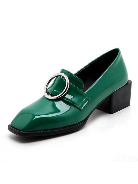Milanoo Women Pink Loafers Metallic Grommet Square Toe PU Slip On Shoes