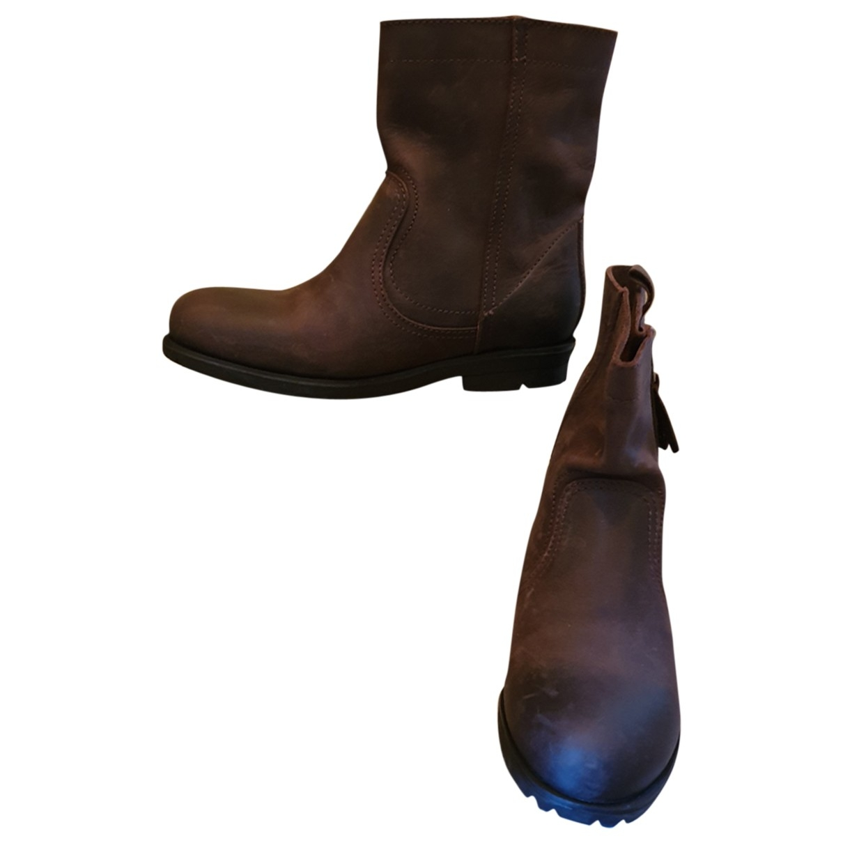 Non Signé / Unsigned \N Brown Leather Boots for Women 38 EU