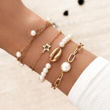4pcs Shell & Faux Pearl Decor Bracelet