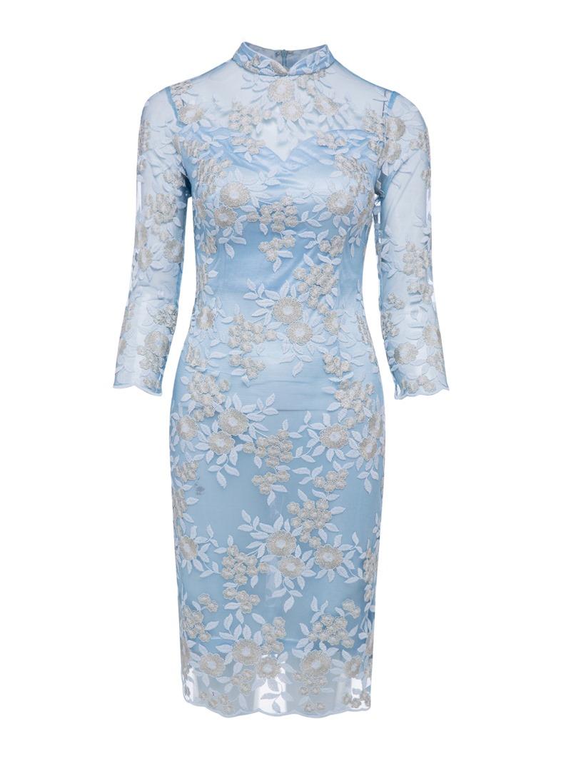 Ericdress High Neck Zipper-Up Appliques Lace Evening Dress
