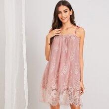 Eyelash Floral Lace Cami Dress