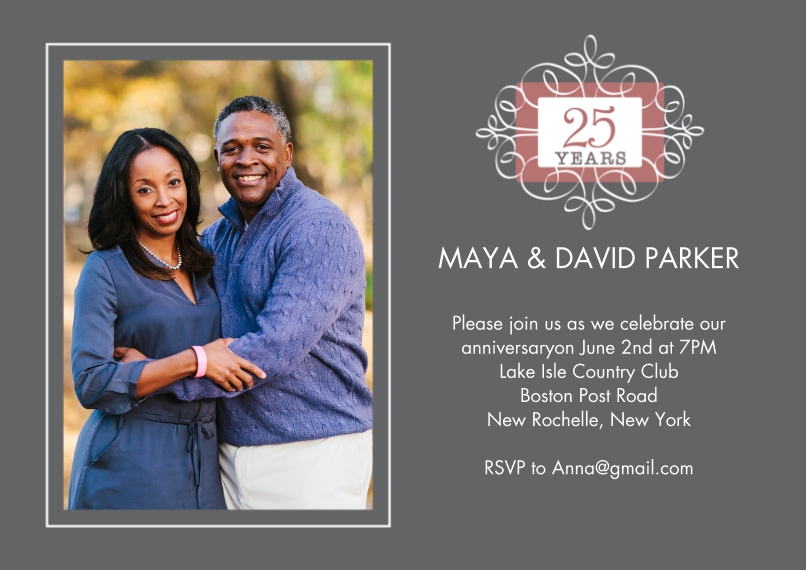 Anniversary 5x7 Cards, Premium Cardstock 120lb with Rounded Corners, Card & Stationery -Anniversary 25 Years Ornament Photo