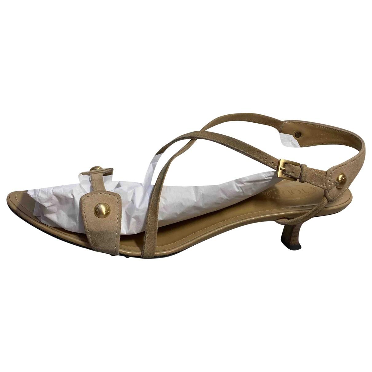 Tods - Sandales   pour femme en suede - beige