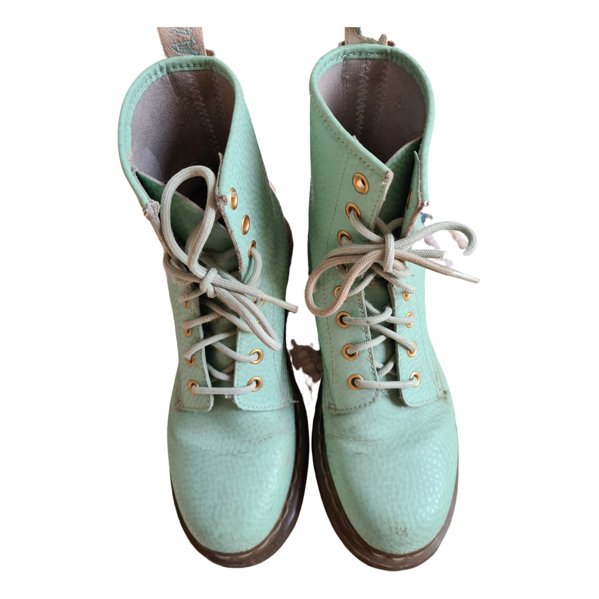 Dr. Martens \N Green Patent leather Ankle boots for Women 40 EU
