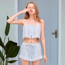 PJM Cami Top mit Bogenkante, Blumen Muster & Shorts Schlafanzug Set