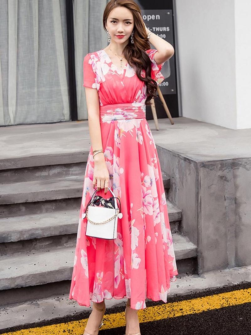 Ericdress V-Neck Floral Print Women's Maxi Dress