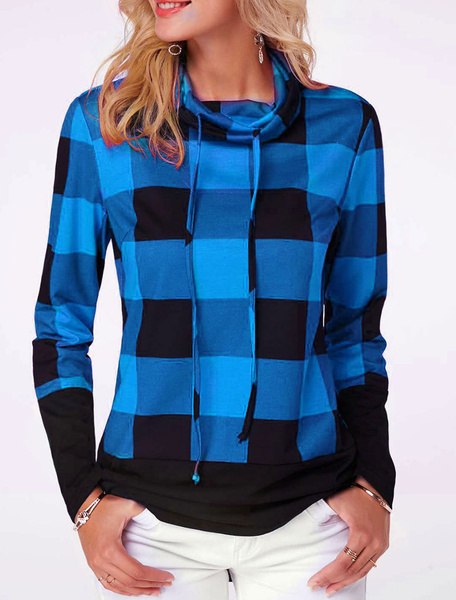 Milanoo Women Hoodie With Drawstring Long Sleeve Top In Check