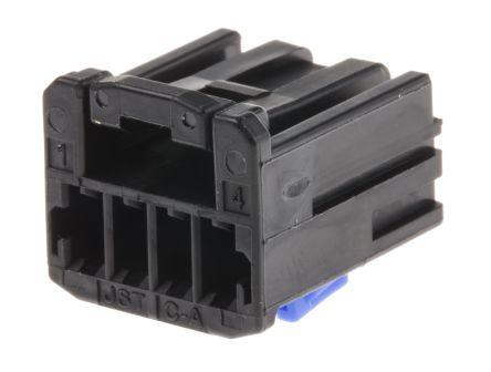 JST , HCH Automotive Connector Socket 1 Row 4 Way, Crimp Termination, Black (5)