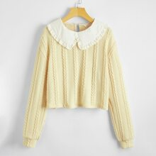Peter Pan Collar Cable Knit Sweater