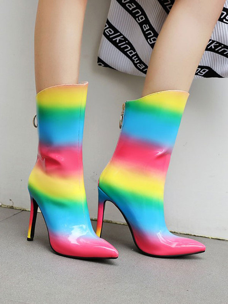 Milanoo Women Ankle Boots PU Leather Red Pointed Toe Rainbow Color Block Ombre Boots