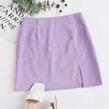 Rib-knit Split Hem Skirt