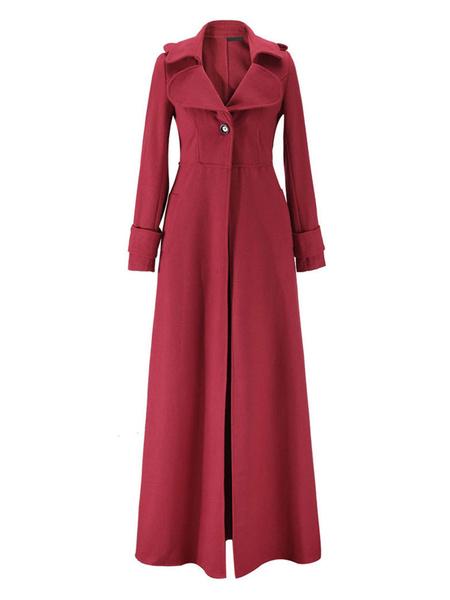 Milanoo Women Maxi Outerwear Blue Turndown Collar Long Sleeve Button Wrap Coat