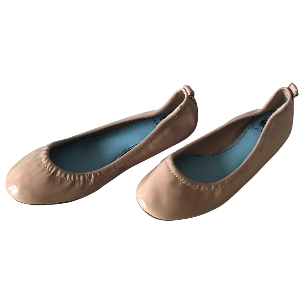 Lanvin - Ballerines   pour femme en cuir verni - beige
