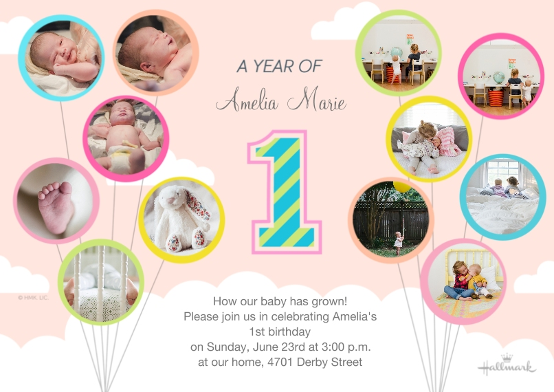 1st Birthday Invitations Flat Glossy Photo Paper Cards with Envelopes, 5x7, Card & Stationery -A Year of Baby - Pale Pink