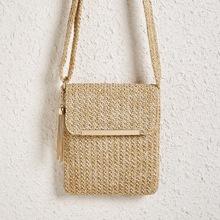 Metal Tassel Charm Woven Crossbody Bag