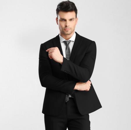 Mens Black 1 Button Single Peak Slim Fit Suit with Flat Front Pant