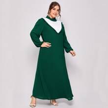 Plus Colorblock Frill Trim Dress