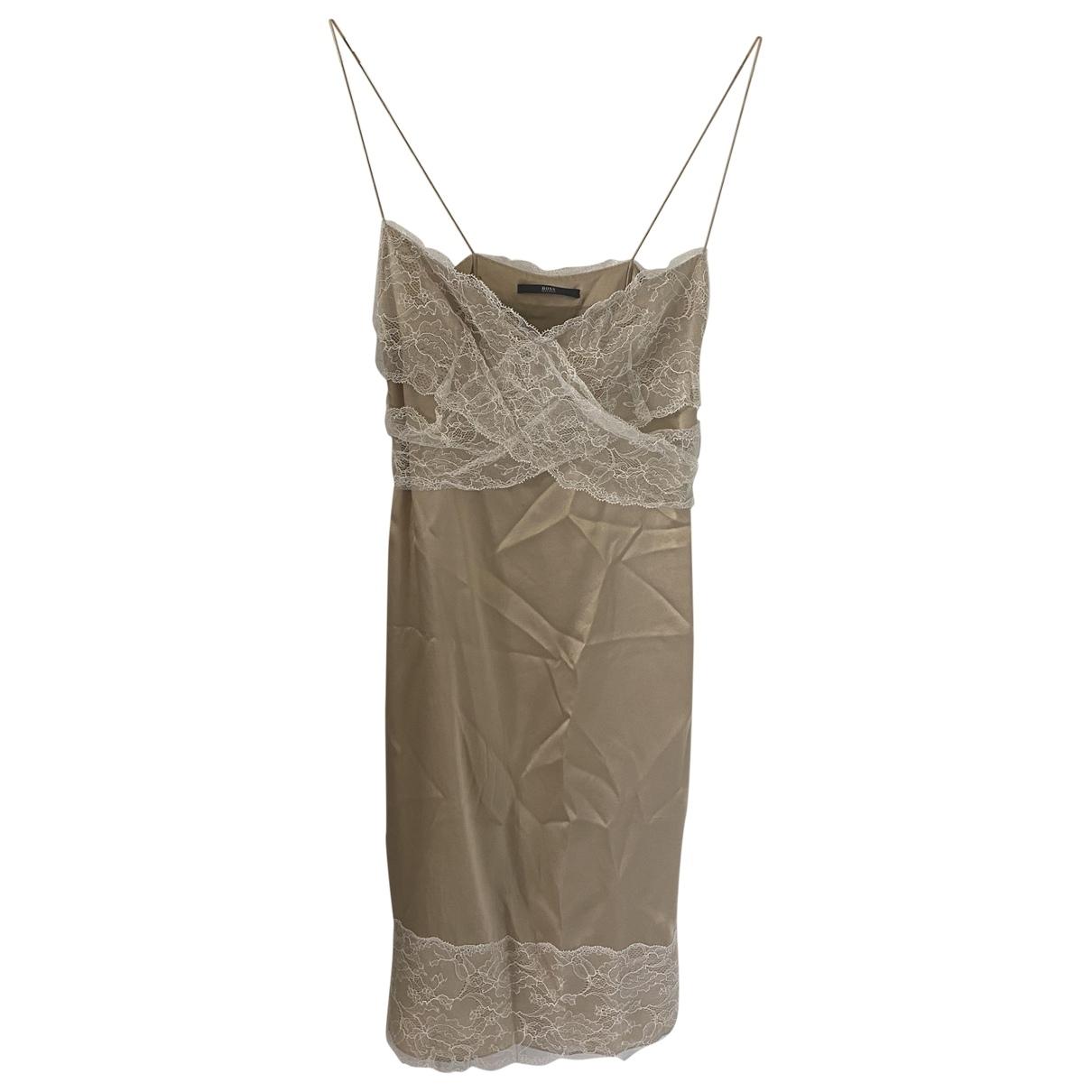 Boss - Robe   pour femme en soie - dore