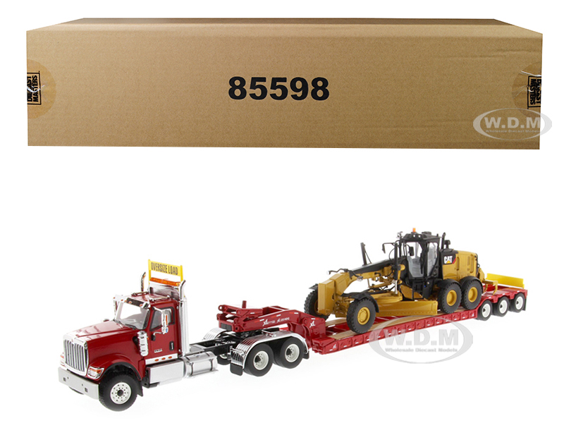 International HX520 Tandem Tractor Red with XL 120 Lowboy Trailer and CAT Caterpillar 12M3 Motor Grader Set of 2 pieces 1/50 Diecast Models by Diecas