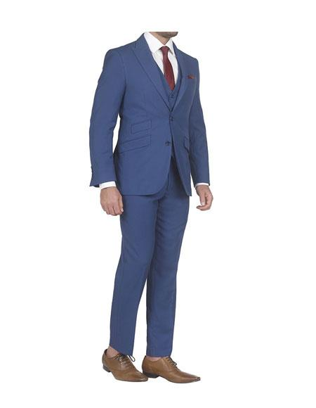Mens Single Breasted slim fit 3 piece vested suits with Ticket Pockets