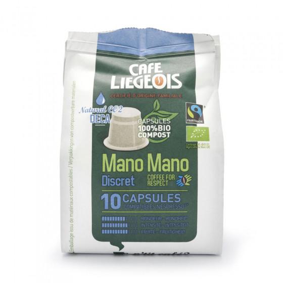 "Kaffeekapseln Cafe Liegeois ""Mano Mano Discret Deca"", 10 Stk."