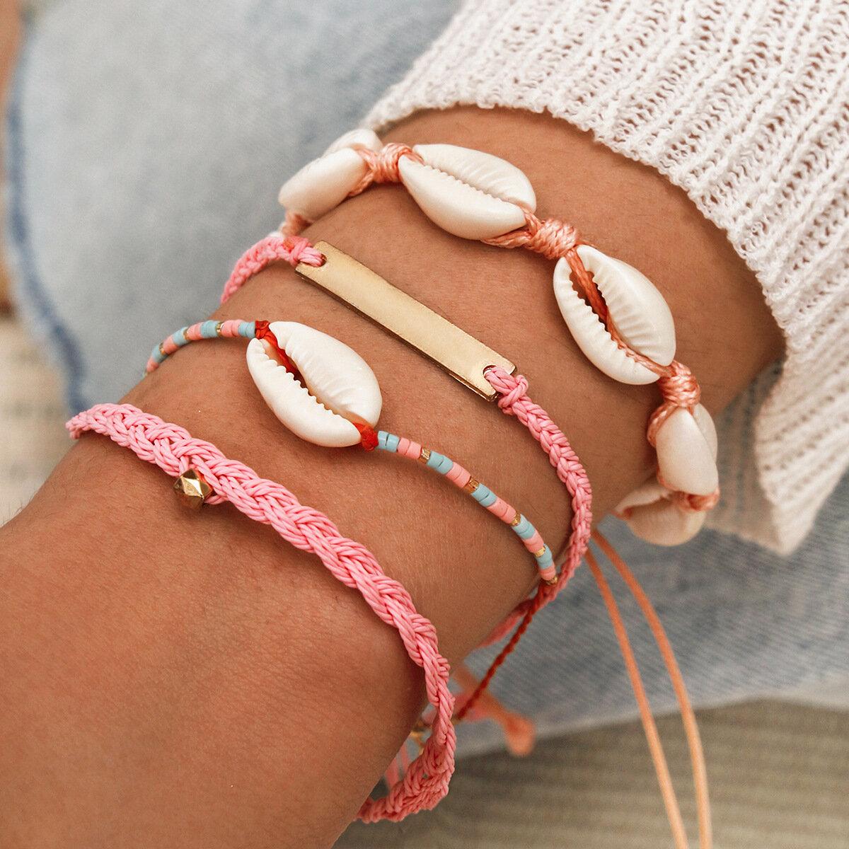 Bohemian Natural Shell Rice Beads Hand-woven Bracelet Geometric Rectangle Pendant Multi-layer Bracelet