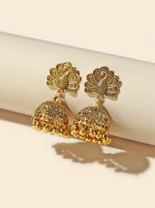 Jhumka Peacock Bell Tassel Drop Earrings