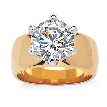 Womens 4 CT. T.W. White Cubic Zirconia 18K Gold Over Brass Engagement Ring, 5 , No Color Family